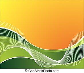 welle, grüner hintergrund, wellen, orange, weißes
