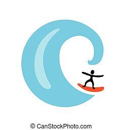 welle, logo, vektor, surfer