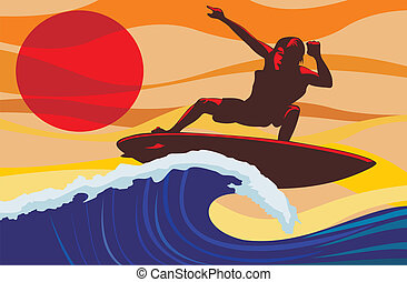 welle, -, surfer
