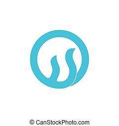 welle, vektor, logo, abstrakt, dynamisch, bewegung, blaues
