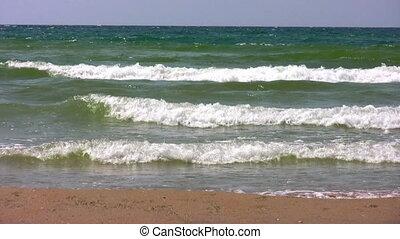 wellen, auf, sandstrand