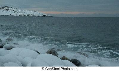 wellen, brechen, gegen, a, stein, der, nördlich , ocean.