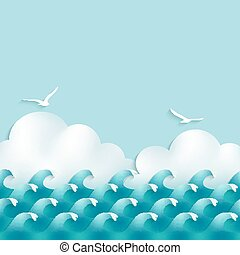wellen, hintergrund, meer, wolkenhimmel, möwen