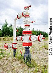 Wellhead. - Oil, gas industry. Wellhead with valve armature.