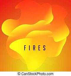 wellig, illustration., plakat, web., abstrakt, modern, decke, feuer, zungen, vektor, flamme, orange, design, form, banner