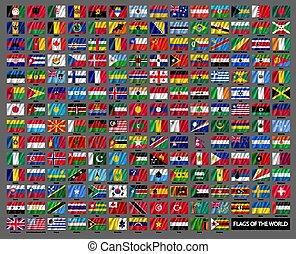 wellig, weltweit, national, flaggen, satz