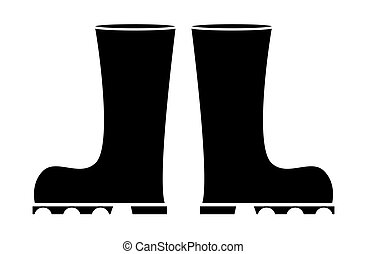 Wellington boot silhouette illustration isolated on white background. Rubber boots set vector clip art.