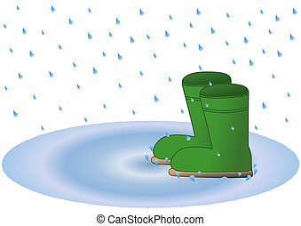 Wellington boots in rain puddle - Green wellington boots in...
