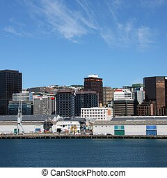 Wellington, capital city of New Zealand. Downtown ...