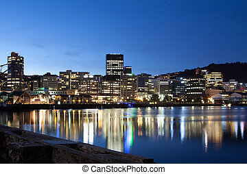 Wellington CBD at Dusk - Wellington, New Zealand