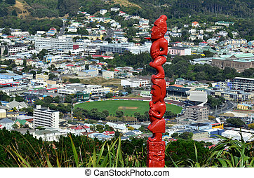 Wellington Cityscape - Maori wood carving statue overlooking...
