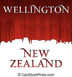 wellington, fundo, skyline, zelândia, cidade, vermelho, novo, silueta