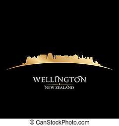 Wellington New Zealand city skyline silhouette black background
