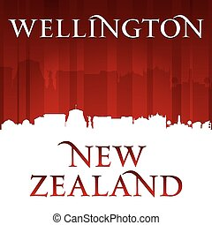 Wellington New Zealand city skyline silhouette red background