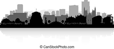 Wellington New Zealand city skyline silhouette - Wellington...