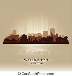 Wellington New Zealand city skyline vector silhouette