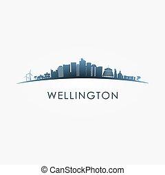 Wellington, New Zealand skyline silhouette.