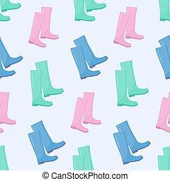 Wellington rain boots vector seamless pattern