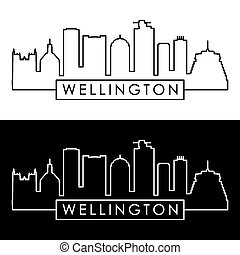 Wellington skyline. Linear style.