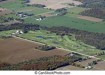 wellington, terrain de golf, aérien