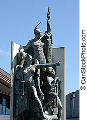 Wellington waterfront - Bronze statue depicting the Maori in...