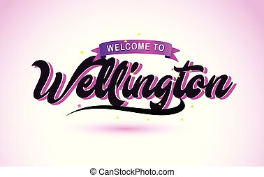 Wellington Welcome to Creative Text Handwritten Font with Purple Pink Colors Design.
