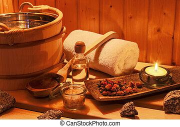 wellness, és, ásványvízforrás, alatt, a, szauna