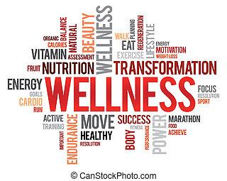 wellness, 単語, 雲