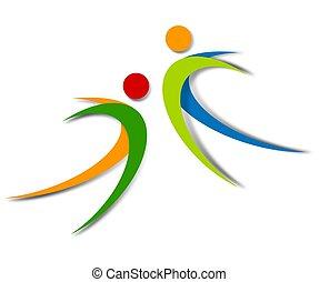 wellness, 抽象的, ロゴ, デザイン