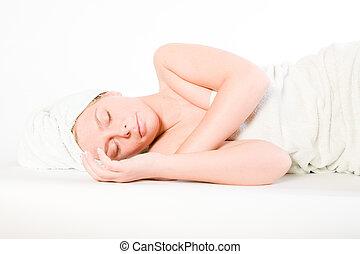 wellness, 横になる, 眠ったままで, シリーズ, 女の子