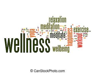 wellness, 白, 単語, 雲, 背景
