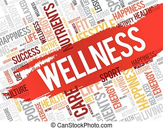 wellness, 雲, 単語, フィットネス
