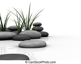wellness - 3d rendered illustration of gras and stones