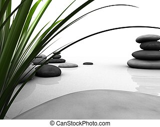 wellness - 3d rendered illustration of some gras and stones