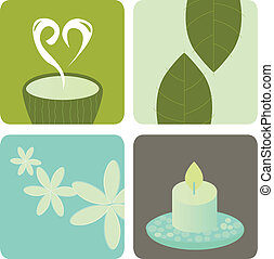 Wellness and relaxation icons. Tea, tea leafs, aromatherapy and candle bring pure harmony into life. Vector illustration in natural tones.