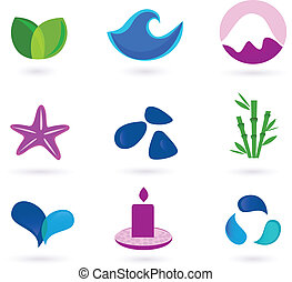 Wellness, medical and relaxation icon set. Collection of 9 design elements inspired by water, nature, soul and meditation. Perfect use for websites, magazines and wellness brochures.