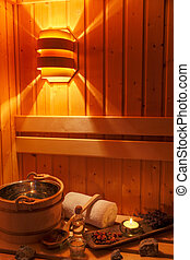 cozy atmosphere in the sauna at a spa area of a wellness hotel. recreation and relaxation from everyday life.