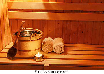 wellness and spa in the sauna - cosy atmosphere in the sauna...