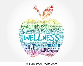 Wellness apple word cloud concept