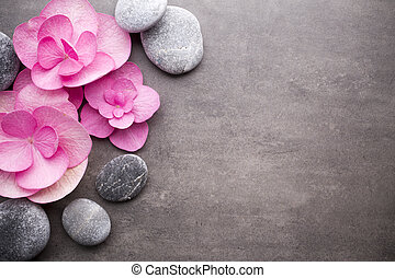 Wellness background. - Close up view of spa theme objects on...