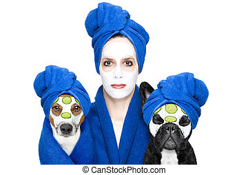 young woman or girl with beauty facial cream mask on face with dogs with wellness treatment, isolated on white background