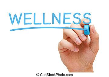 Wellness Blue Marker - Hand writing Wellness with blue...