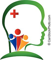 Wellness healthy brain logo vector