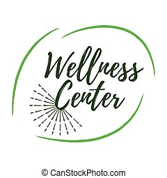 Wellness Center label. Eco style. Healthy Lifestyle badges. Vector illustration icon with Sunburst