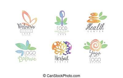 Wellness Center Logo Design Collection, Healthy Food, Yoga, Balance Watercolor Badges Vector Illustration