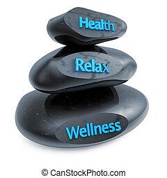 wellness centre - three black stones in equilibrium on white...