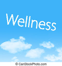 Wellness cloud icon with design on blue sky background