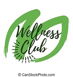 Wellness Club label. Eco style. Healthy Lifestyle badges. Vector illustration icon with Sunburst