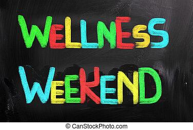 wellness, conceito, fim semana