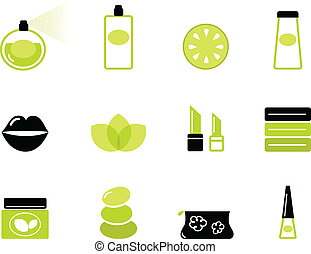 Wellness & cosmetic icons isolated on white ( green - black )